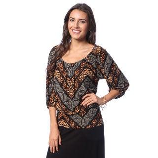 24/7 Comfort Apparel Women's Multi-chevron Print 3/4 Sleeve Top