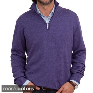 Luigi Baldo Italian Made Men's Cashmere/Silk 1/4 Zip Sweater