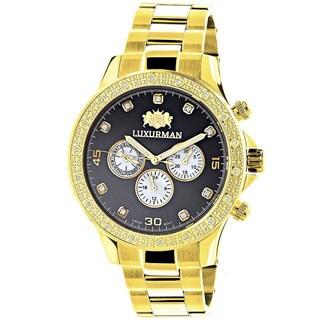 Luxurman Men's Goldtone Stainless Steel Diamond Accent Water-Resistant Quartz Watch
