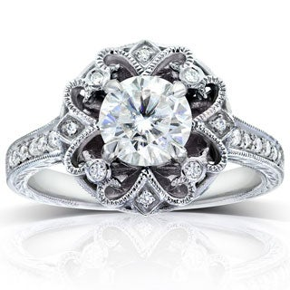 Annello 14k Gold Moissanite and 1/5ct TDW Diamond Antique-style Engagement Ring (G-H, I1-I2)