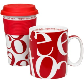 Konitz Red Script Collage Stay-and-Go Mugs (Set of 2)