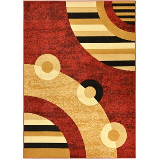 Paterson Circles Dark Red Area Rug (8'2 x 9'10)