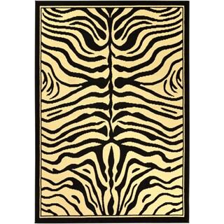 Paterson Zebra Animal Print Black Area Rug (5' x 7')
