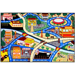 Children's City Streets Design Multicolor Area Rug (5' x 6'6)
