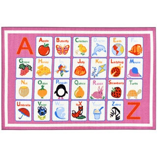 Children's Alphabet Design Pink Area Rug (5' x 6'6)