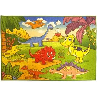 Children's Dinosaurs Design Multicolor Area Rug (5' x 6'6)