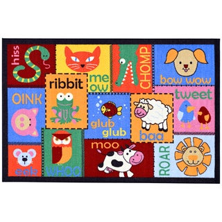 Children's Animal Design Multicolor Area Rug (3'3 x 5')