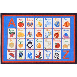 Children's Alphabet Design Blue Area Rug (5' x 6'6)