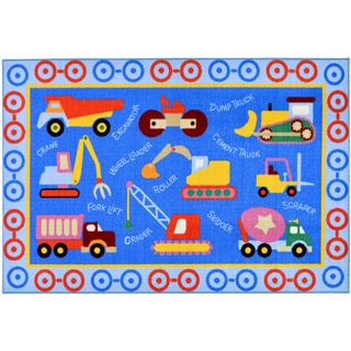 Children's Construction Machinery Design Blue Area Rug (3'3 x 5')