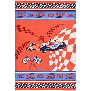 Children's Race Cars Design Red Area Rug (5' x 6'6)