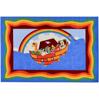 Children's Noah's Ark Design Blue Area Rug (5' x 6'6)