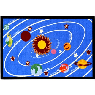 Children's Solar System Design Blue Area Rug (5' x 6'6)