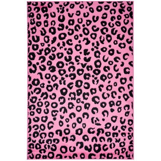 Pink Animal Print Leopard Design Area Rug (5' x 7')