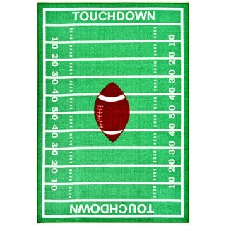 Children's Sports Touchdown Design Green/ White Area Rug (5' x 6'6)