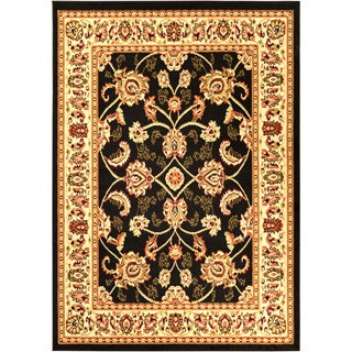 Black Traditional Oriental Area Rug (5' x 7')