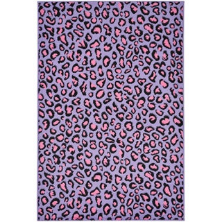 Purple Leopard Print Area Rug (5' x 7')
