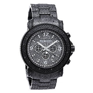 Luxurman Men's 2ct Pave-Set Black Diamond Watch