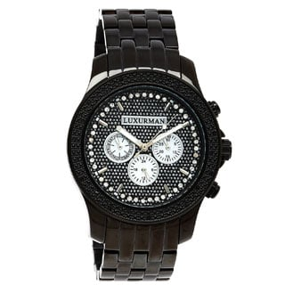 Luxurman Men's 1/4ct Black Diamond Chronograph Watch