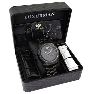 Luxurman Men's 3ct Black Diamond Oversized Watch Metal Band plus Extra Leather Straps
