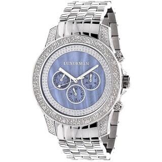 Luxurman Freeze Men's 1/2ct Diamond Blue Mother of Pearl Watch