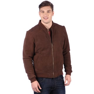 United Face Mens Suede Bomber Jacket