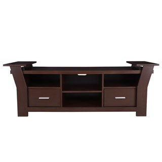 Furniture of America Skyler Contemporary 64-inch White/ Walnut 2-drawer TV Console