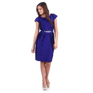 Alex Evenings Women's Sapphire Cap Sleeve Cocktail Dress