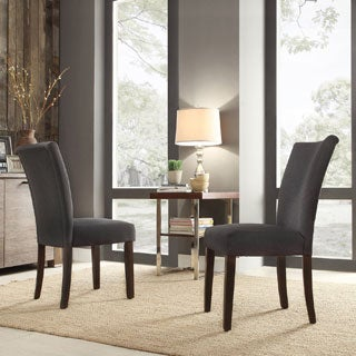 Parson Dark Gray Fabric Side Chairs (Set of 2)