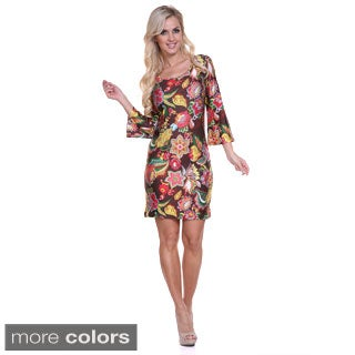 Women's 'Flower Fusion' Bell Sleeves Mini Dress