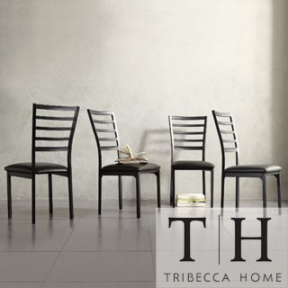 Tribecca Home Darcy II Espresso Contoured Metal Dining Chairs (Set of 4)