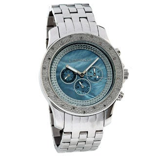 Luxurman Men's Blue Mother of Pearl Dial Diamond Watch