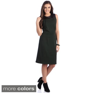 Amelia Women's Leatherette Yoke Sheath Dress