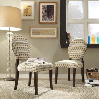 Zoey Geometric Fabric Round Back Side Chair (Set of 2)