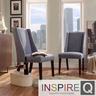 Inspire Q Regency Denim Blue Linen Nailhead Wingback Hostess Chairs (Set of 2)