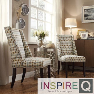 Inspire Q Regency Geometric Print Fabric Nailhead Wingback Hostess Chairs (Set of 2)