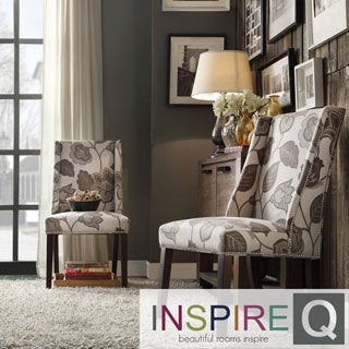 Inspire Q Regency Floral Poppy Print Nailhead Wingback Accent Hostess (Set of 2)