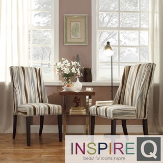 Inspire Q Regency Pastel Wavy Stripe Nailhead Wingback Hostess Chairs (Set of 2)