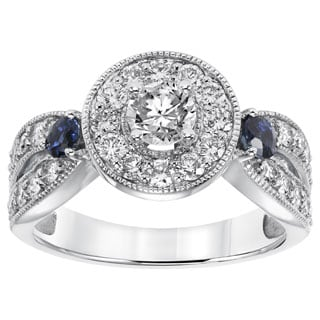 Cambridge 14k White Gold 1 1/5ct TDW Blue Sapphire Accent Diamond Ring