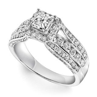 Cambridge 14k White Gold 1 3/8ct TDW Princess Diamond Center Ring (I-J, I1-I2)