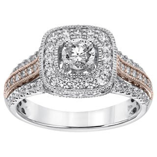 14k Two-tone Gold 1ct TDW Round-Cut Diamond Ring (I-J, I1-I2)