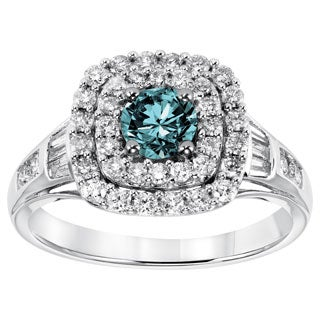 Cambridge 10k White Gold 1 1/4ct TDW Blue Diamond Halo Ring