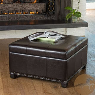 Christopher Knight Home Shauna Espresso Leather Interior Tray Storage Ottoman