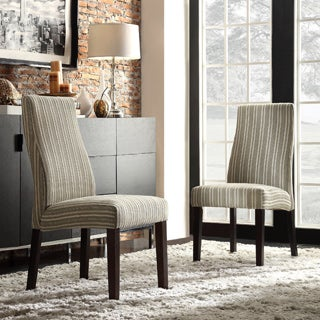 Kiess Colby Striped Fabric Wave Back Parson Chairs (Set of 2)