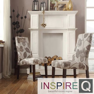 Inspire Q Kiess Floral Poppy Print Wave Back Parson Chairs (Set of 2)
