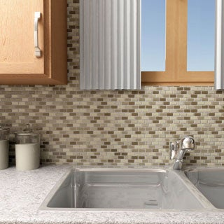 SomerTile 11.25x11.75-inch View Mini Subway Aegis Glass and Stone Mosaic Wall Tile (Case of 16)