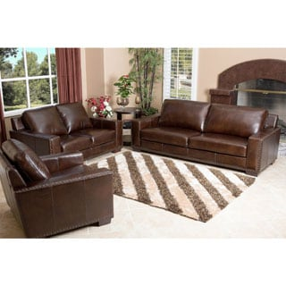 ABBYSON LIVING Barrington 3 Piece Hand Rubbed Leather Sofa Loveseat and Armchair