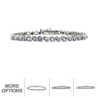 Glitzy Rocks Silvertone Gemstone Diamond Accent Tennis Bracelet