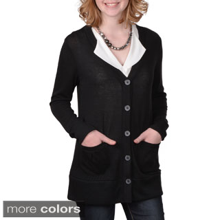 Journee Collection Junior's Contemporary Plus Button-up Long Cardigan