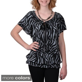 Tressa Designs Women's Contemporary Plus Short-sleeve Animal Print Top