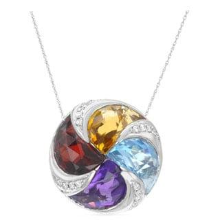 14k White Gold Multi Semi-precious Gemstone and White Diamond Accents Pendant